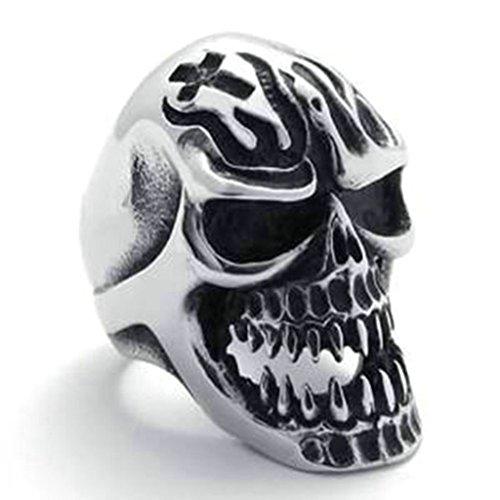 Gnzoe Uomo Acciaio inossidabile Anello, Retro Classico Cranio Anello, Argento Nero, Dimensioni 27