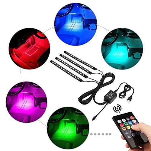 Aiguozer® Auto LED Innenraum Innenraumbeleuchtung Streifen Leuchte LED Auto Leuchten 48 LED Auto Lichtleiste RGB Atmosphäre Lichter Strip mit USB-Port Autoladegerät, IR- und