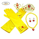 Sundlight 5PCS Princess Dress up Accessories with Yellow Princess Necklaces Crown and Wand for Girls Birthday Party Christmas