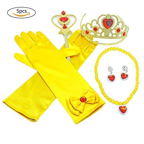 dung, Zubehör-Set mit Krone, Zepter, Halskette, Ohrringen, Handschuhen, für Kinder / Mädchen (F Party Kostüme)