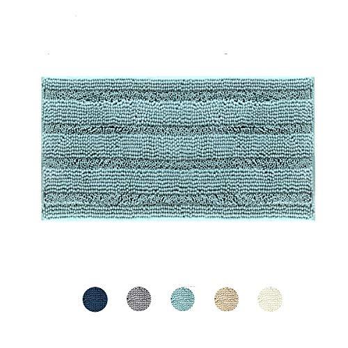 DomoWin Badteppich Badvorleger aus Mikrofaser Chenille Hochflor Duschvorleger Badematte, rutschfeste Badvorleger Waschbar fürs Badezimmer (Mint Grün, 50 x 80 cm)