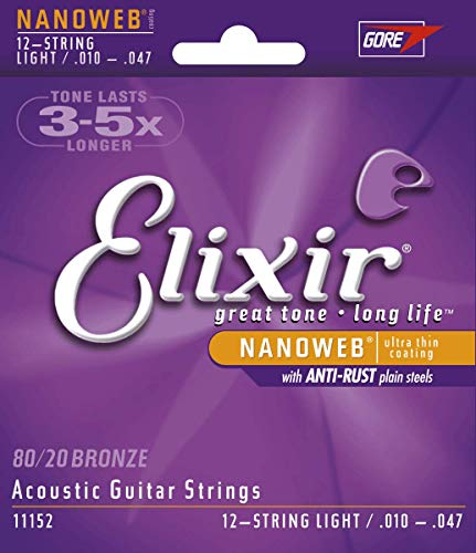 Elixir 11152 Acoustic guitar Saiten 12 Light Nanoweb Coating