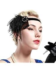 Babeyond Damen Gatsby Kopfstück Schwarz Flapper Stirnband Kristall Stirnbänder für Frauen mit Tassel Schwarz