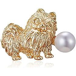 ZOUCY Gold Animal Jewelry Esmalte Perla Recién Nacido Pájaro Solapa Broche Pin Traje para Ella