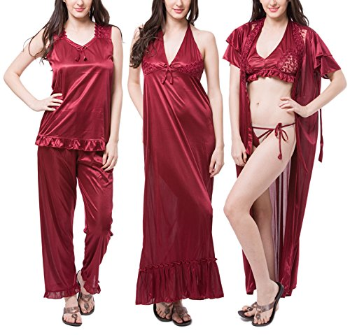 Fasense Satin Nightwear 6 Pcs Set of Nighty Robe Top Pajama Bra & Thong (Large, Maroon)