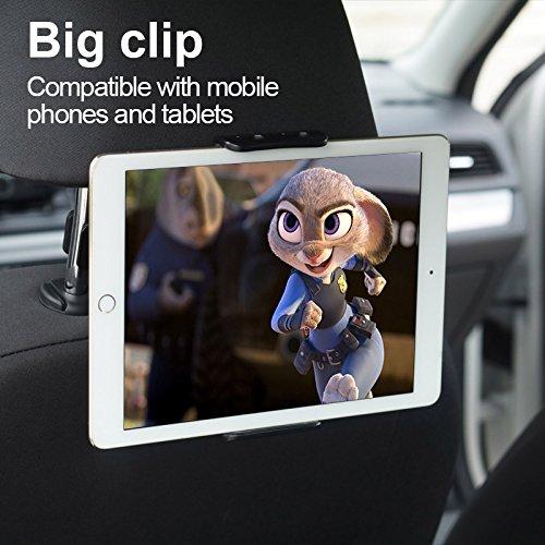Support Tablette Voiture, Pomisty Tablette et Portable Support pour Appuie-tête de Voiture de 360 degrés, Tablet Car Holder pour iPad, iPhone, Samsung, Universel de 4-11 Pouces (Noir)
