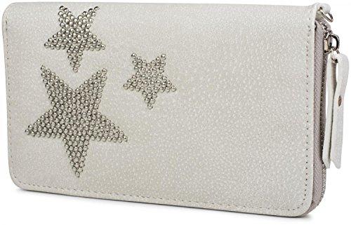 styleBREAKER Geldbörse mit Nieten Stern, umlaufender Reißverschluss und Handschlaufe, Portemonnaie, Damen 02040043, Farbe:Hellgrau