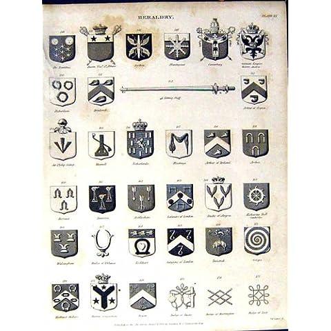 La Stampa Antica dei Cappotti dell'Araldica *0999 Arma l'Enciclopedia Britannica C1832 - Cappotto Britannico Di Armi
