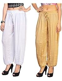 Dada Shopy Harem Pants, Patiala Pants Comfort fit for Women, Girls combo 2 (White::Beige, Free Size)