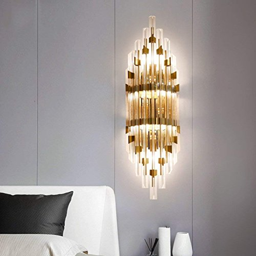 QAZ Wall Lamp light Crystal Wall Light des lumières de chevet Chambre Salon escalier allée lumière Nordic Hotel Lights (taille : 60 * 21 * 14cm)