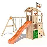 ISIDOR Gilligan Spielturm mit Schaukelanbau, Maltafel, XXL Rutsche, Kletterwand auf 1,50m Podesthöhe UVM. (Orange)