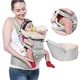 Babytrage Baby Träger Babybauchtragen 3 in 1 Neugeborene Baby Säugling Frontträger Kleinkind Komfort Rucksack mit Taille Hocker Verstellbar 360 ° von YTQSHOP (Grau)