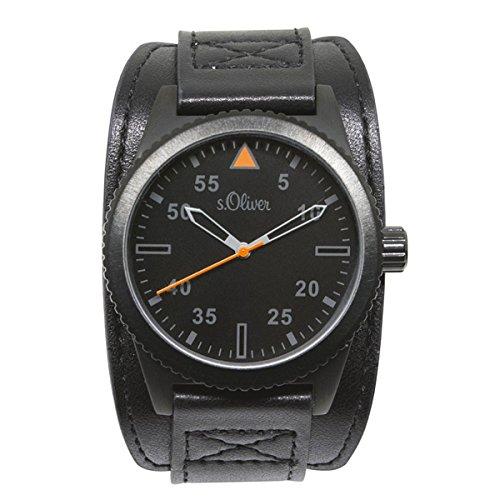 s.Oliver Herren-Armbanduhr Analog Quarz Leder SO-15153-LQR