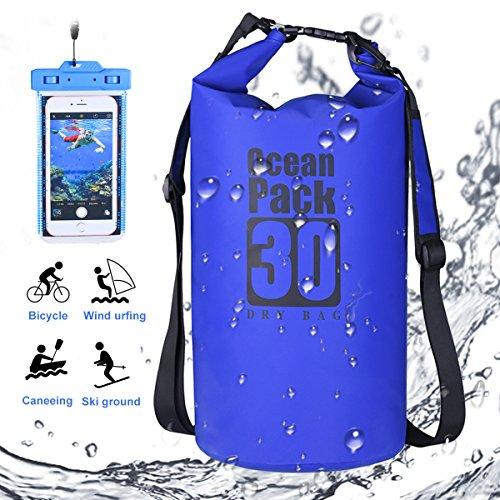 DINOKA Borsa impermeabile, Sacca impermeabile da 30L, Kit impermeabile con Zaino Dry Bag, Waterproof Phone Case perfetto per kayak, barca, canottaggio, pesca, rafting, nuoto, camping, snowboarding