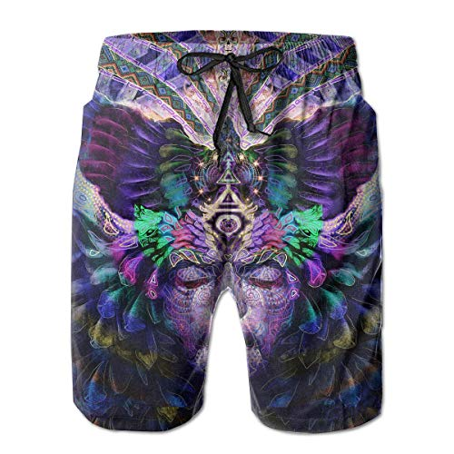 Nacasu Men's Swim Trunks Psytrance Art Casual Sportswear Quick Dry Beach Shorts for Boys Summer XXL