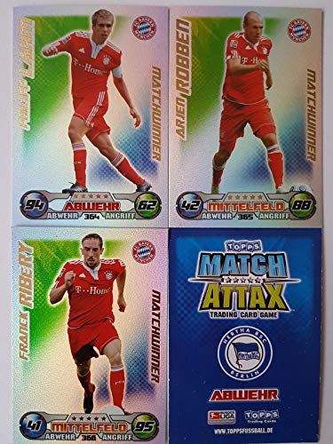 Match Attax Topps 2009 2010 - Trading Cards alle 3 Matchwinner: MÜNCHEN: Lahm, Robben, Ribery (Topps-fußball-2010)