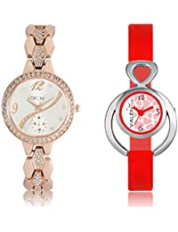 The Shopoholic White & Red Analog With Latest Heart Dial Metal And Plastic Belt Combo Watch For Girls-watches...