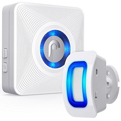 Fosmon Durchgangsmelder/Bewegungsmelder/Ladenglocke/Alarm-System/Tür-Klingel & Fenster Sensor/[Wireless Erweiterbar Batterie 150m Reichweite 110 db Innen][1 Empfänger & 1 Sender Set]