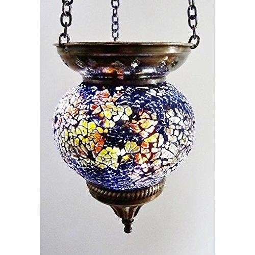 MOSAIC LAMP T LITE CANDLE HOLDER TEA LIGHT DECOR HANGING HANDMADE GLASS MOROCCAN (AMBER (MEDIUM))