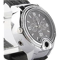 Mens Lighter Wrist Watch Refillable Butane Cigarette Cigar Electronic Torch Lighter Collectable better than a Clipper / Zippo-Black