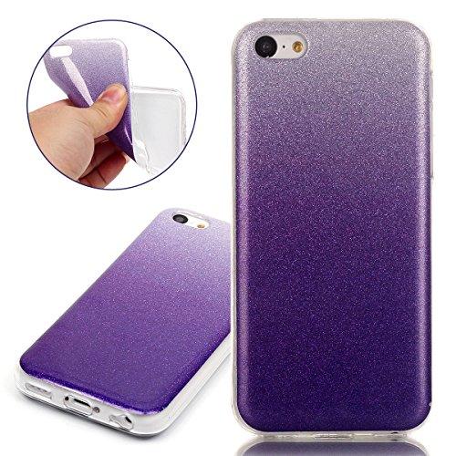 Coque pour iPhone 5C, Etui pour iPhone 5C, ISAKEN Peinture Style Transparente Ultra Mince Souple TPU Silicone Etui Housse de Protection Coque Étui Case Cover pour Apple iPhone 5C (Papillons Fleurs) violet