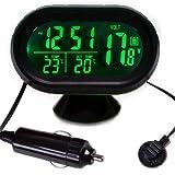 Auto éclairage écran lCD digital thermomètre intérieur/extérieur mesure de la température de l'heure des indicateurs voltmetre