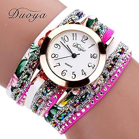 Zolimx Damen Flower Armbanduhr Uhren Frauen Blume beliebte Quartz Uhr Luxus Armband  (Hot Pink)