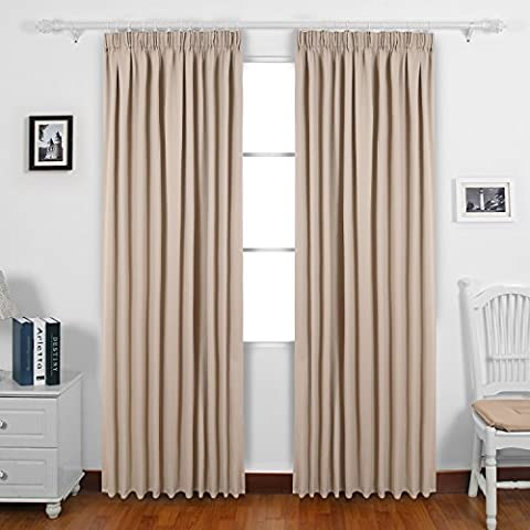 Deconovo Rod Pocket Ready Made Solid Thermal Insulated Blackout Curtains