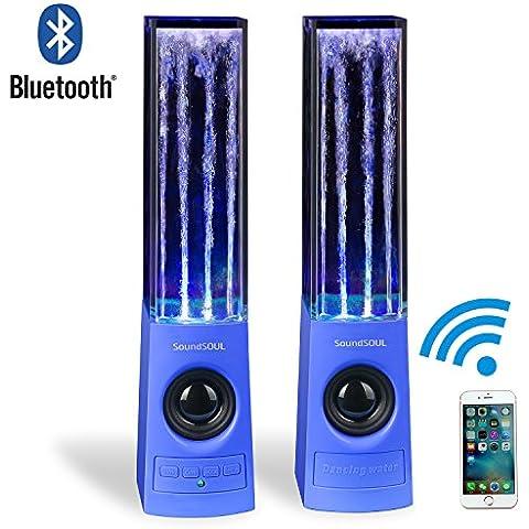 SoundSOUL Altavoces Bluetooth inalámbrico Agua Fuente Músical mini Amplificador con LED Luces para PC / MP3 / Teléfonos móviles /Tabletas (Azul)