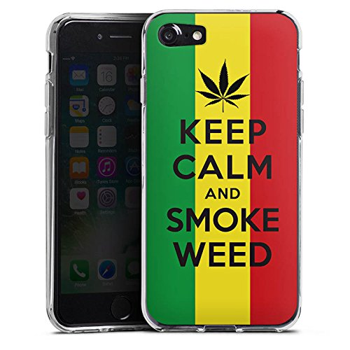 Apple iPhone X Silikon Hülle Case Schutzhülle Keep calm and smoke weed Sprüche Statement Silikon Case transparent