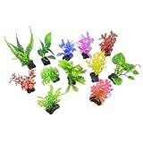 Soccik Aquarium Pflanze Künstliche Wasserpflanzen Bunte Kunststoff Unterwasser Pflanzen Aquarium Dekoration Ornament 12 Stück