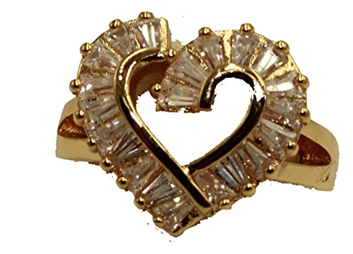 Diamantados of Fla Heart Bagette Cz Ring 18k Gold Plated Ring - Heart Ring Size 9