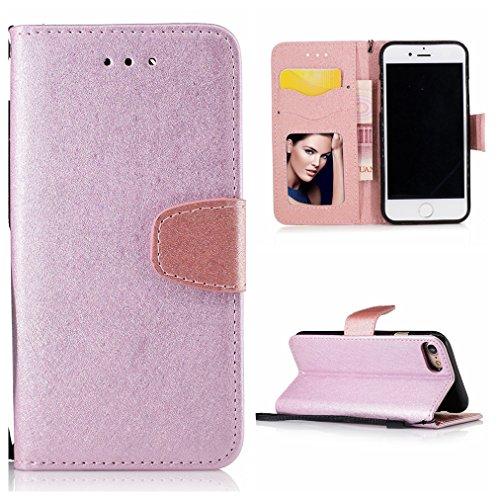 Voguecase® Pour Apple iPhone 7 4,7 Coque, Étui en cuir synthétique chic avec fonction support pratique pour iPhone 7 4,7 (Motif de soie-Rouge-brun)de Gratuit stylet l'écran aléatoire universelle Motif de soie-Pink