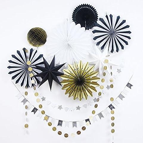 SUNBEAUTY 10er Set Rot Gold Weiß Fächer Girlande Stern Dekoration Serie Weihnachten Wanddeko Fenster Deko (Schwarz & Gold & Weiß)