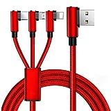 Cuitan Multi Cavo USB di Ricarica, Cavo Multi USB 3 in 1 Multiplo Lightning Micro USB USB Tipo C Nylon Intrecciato per iPhone X / 8/7 / iPad/Macbook / Google Pixel/Samsung Galaxy S8 - Rosso