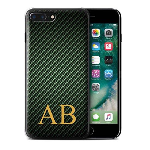 Personalisiert Kohlenstoff-Faser Muster Hülle für Apple iPhone 7 Plus / Blau Stempel Design / Initiale/Name/Text Schutzhülle/Case/Etui Grün Monogramm