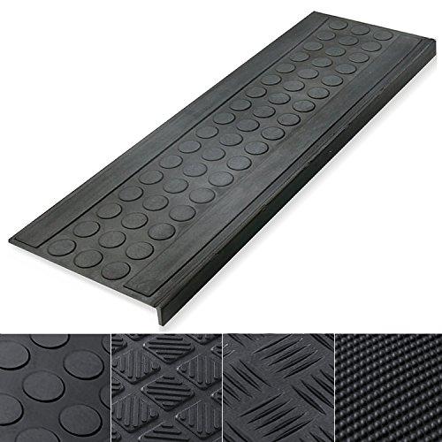 Antirutsch Stufenmatten aus Gummi mit Winkelkante | rutschhemmend für außen und innen | zwei Größen zur Wahl im 5er Set | viele Designs für Ihre Treppe | Design Flachnoppen - 75 x 25 cm Dr Halt Alle Schwarz