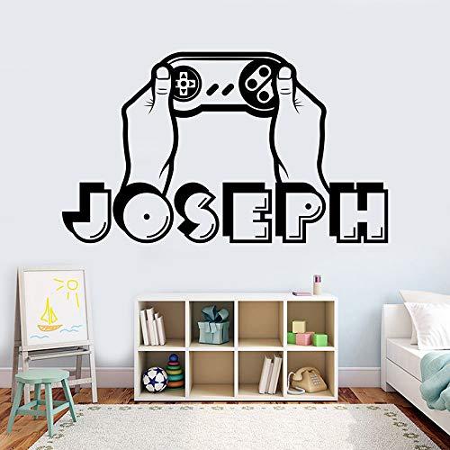 zqyjhkou Boy Name Wall Decal personalisierte Gamer Name Decal 3D Aufkleber Controller Videospiel Aufkleber angepasst Name Teen Computer A11-032 57X33CM