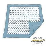 Emma & Noah Baby Krabbeldecke geprüft nach Oeko-Tex Standard 100, weich gepolstert aus 100% Baumwolle, 120x120 cm groß, Wal Motiv, ideal auch als Babydecke, Spieldecke und...