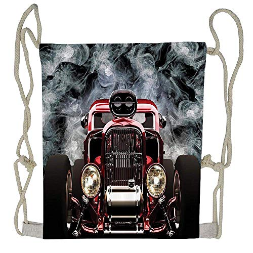 Naiyin Vintage American Hot Rod Roadster with Smoke Background Race Art Pictures Drawstring Tote Bag Cinch Gym Bags Storage Backpack for Boys Girls (Erwachsenen Store Hot Stuff)