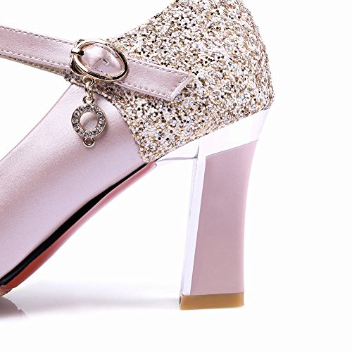 Mee Shoes Damen chunky heels Ankle strap Pumps Pink