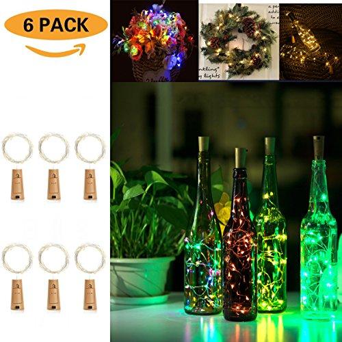 chen Licht Mehrfarben Flaschenlicht Weinflaschen Lichter 20er LED Kork Flasche Lichterkette für DIY Party, Dekor, Weihnachten, Halloween, Hochzeit oder Stimmung Lichter ()
