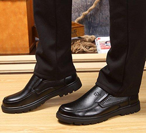 Aisun Homme Confortable Slip On à Talon Plat Souliers Noir