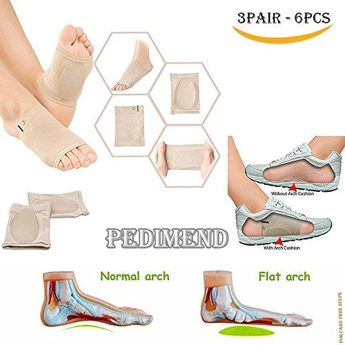 6von Flat Foot Arch Support durch pedimendtm | Plantarfasziitis Einlagen | Orthotics Massage flach Füße Pad | Shock absorbieren Einlegesohle | aus Flach Zwickt Füße | für Herren und Damen | Foot Care -