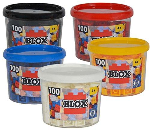 Blox 500 Stück 4er Steine gemischt (5 Farben,gelb,rot,blau,weiß,schwarz) in Dose