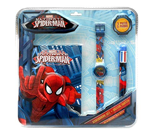Disney- Spiderman Set Montre Digital + Stylo 6C + Bloc-Notes, MV92382