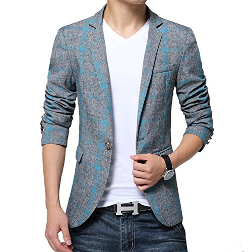 BiSHE Männer Plaid Bettwäsche elegante Blazer Slim Fit Smart formalen Anzüge Jacket Sakko (Blau Weste Royal Gestreifte)