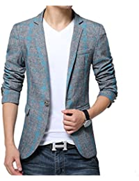 BiSHE Männer Plaid Bettwäsche elegante Blazer Slim Fit Smart formalen Anzüge Jacket Sakko