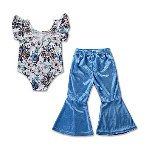 Tick Tocking 2 STÜCKE Kleinkind Kinder Baby Mädchen Floral Top Strampler + Bell-Bottoms Hosen Outfit Kleidung Set