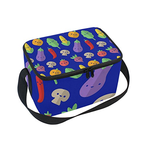 folpply Süßer Gemüse Lunch Tasche, Reißverschluss Kühltasche Tasche, Lunchbox Mahlzeit Prep Handtasche für Picknick Schule Frauen Herren Kinder (Prep Gemüse)